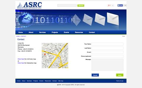 Screenshot of Contact Page asrc.ro - ASRC - Contact - captured Oct. 4, 2014