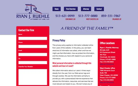 Screenshot of Privacy Page getreallylegal.com - Privacy Policy | Ryan J. Ruehle Attorney At Law, L.L.C. | Cincinnati, Ohio - captured Oct. 6, 2014