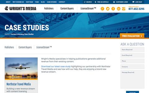 Screenshot of Case Studies Page wrightsmedia.com - Content Licensing Case Studies | Wright's Media - captured Nov. 11, 2016