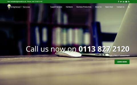 Screenshot of Home Page enlightenedit.co.uk - Home - Enlightened IT Services Limited - captured Sept. 28, 2018
