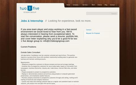 Screenshot of Jobs Page 215designgroup.com - Jobs & Internship // Looking for experience, look no more.two 1 five design group - captured Dec. 21, 2016