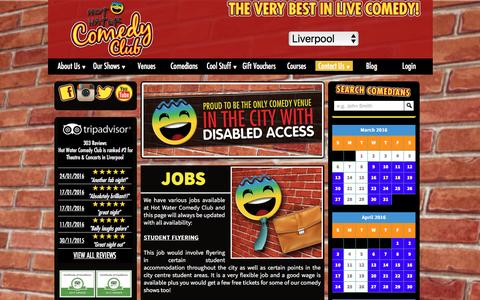Screenshot of Jobs Page hotwatercomedy.co.uk - Jobs | Hot Water Comedy Club Liverpool - captured March 7, 2016