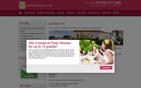 Screenshot of Contact Page partyhouses.co.uk - Contact Us - Party Houses - captured Jan. 25, 2016