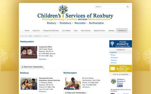 Screenshot of Contact Page Locations Page csrox.org - Locations - Children's Services of Roxbury - captured Oct. 22, 2014