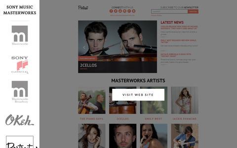 Screenshot of Home Page sonymusicmasterworks.com - Masterworks Music - captured May 22, 2016