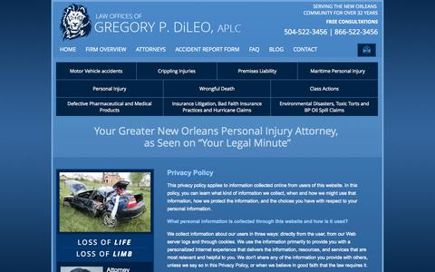 Screenshot of Privacy Page gregdileo.com - Privacy Policy | Law Offices of Gregory P. DiLeo, APLC | New Orleans, Louisiana - captured Oct. 2, 2014