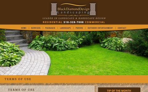 Screenshot of Terms Page bddlandscaping.com - Terms of Use | Black Diamond Landscaping - captured Feb. 7, 2016