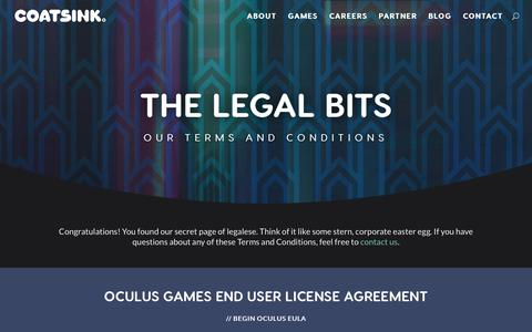 Screenshot of Terms Page coatsink.com - Legal Bits - Our Terms, Conditions and EULA - Coatsink® - captured Dec. 15, 2018