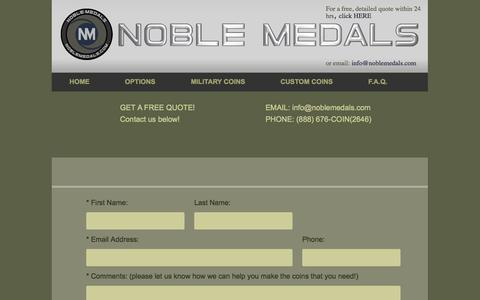 Screenshot of Contact Page noblemedals.com - -:: Noble Medals ::- Contact Us - captured Sept. 26, 2014