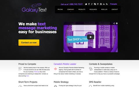 Screenshot of Home Page Site Map Page galaxytext.com - Mobile Marketing, SMS Text Message, Group Texting App Canada, Mobile Site Design | GalaxyText - captured Oct. 10, 2014