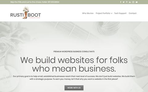Screenshot of Home Page rustiboot.com - Premium WordPress and Business Consultants | Rusti Boot - captured Oct. 26, 2017