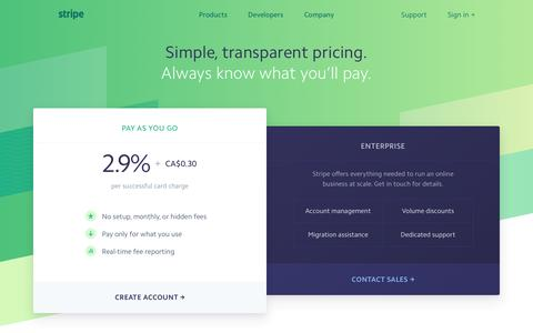 Screenshot of Pricing Page stripe.com - Stripe: Pricing - captured Dec. 29, 2016