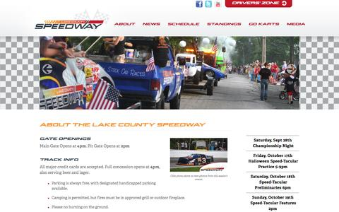 Screenshot of About Page Maps & Directions Page lakecountyspeedway.com - About : Ohio Racetrack : Stock Car Racing - captured Sept. 30, 2014