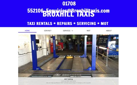 Screenshot of Home Page broxhilltaxis.com - Broxhill Taxis - London Taxi Hire - Vehicle servicing & Repairs - MOT - Broxhill Taxis - Taxi Rentals and Mechanics in Rainham - captured July 30, 2016