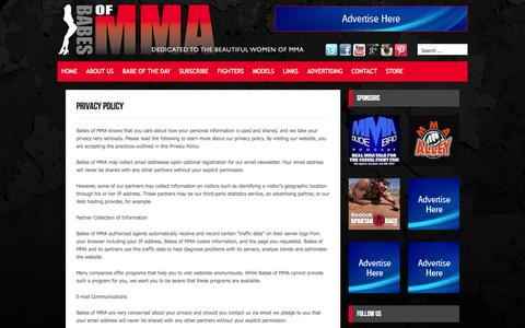 Screenshot of Privacy Page babesofmma.com - Privacy Policy | Babes of MMA - MMA Ring Girls, MMA Models & Women's MMA - captured Oct. 27, 2014
