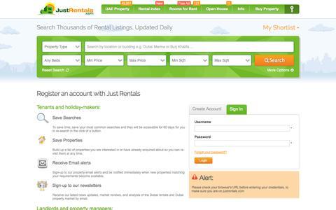 Screenshot of Login Page justrentals.com - Register for a free account on JustRentals.com - captured Sept. 23, 2014