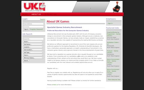Screenshot of About Page ukgrecruitment.com - UK Games - Computer Games Industry Recruitment Agency - About Us - captured Oct. 3, 2014