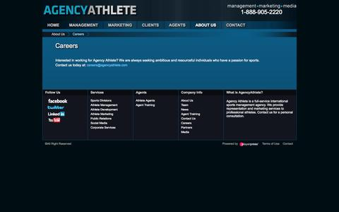 Screenshot of Jobs Page agencyathlete.com - Athlete Marketing Services l Athlete Website Design | Athlete Public Relations | Social Media | Design Services l AgencyAthlete.com - captured Sept. 30, 2014