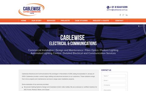 Screenshot of Home Page cablewise.com.au - Cablewise Commercial Electrical and Communications: Perth Western Australia: - captured Jan. 24, 2016
