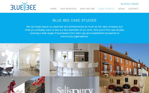 Screenshot of Case Studies Page bluebeesolutions.co.uk - Web, Marketing, Graphic & Design Case Studies | Blue Bee Solutions - captured Oct. 6, 2018