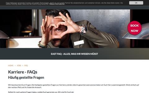Screenshot of FAQ Page east-hamburg.de - FAQ: east Hamburg Hotel und Restaurant - captured Aug. 25, 2016