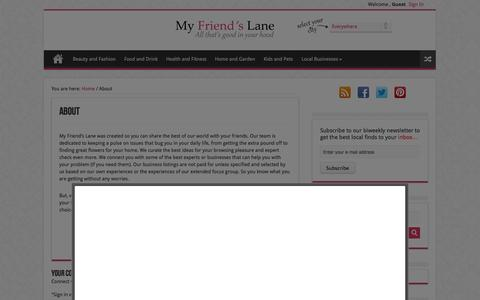 Screenshot of About Page myfriendslane.com - About|MyFriendsLane - captured Sept. 16, 2014