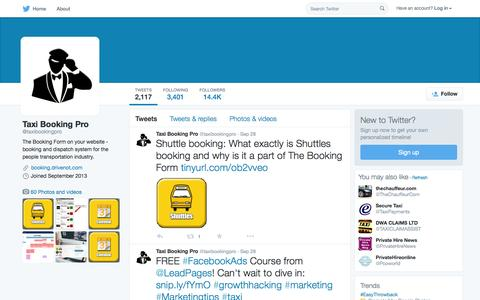 Screenshot of Twitter Page twitter.com - Taxi Booking Pro (@taxibookingpro) | Twitter - captured Oct. 1, 2015