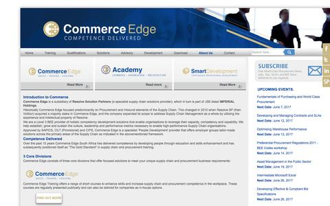 Screenshot of About Page commerce-edge.com - About Us - Commerce Edge - Procurement Training - Purchasing training, strategic sourcing training, competency development, management development programmes, coaching, - captured May 20, 2017