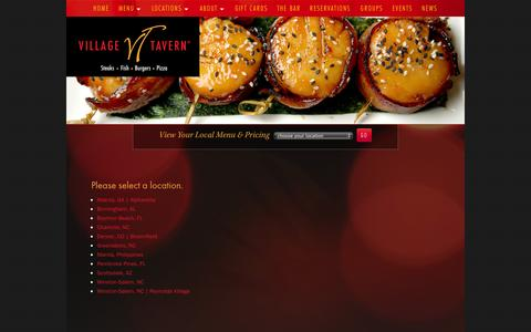 Screenshot of Locations Page villagetavern.com - Village Tavern - captured Oct. 26, 2014