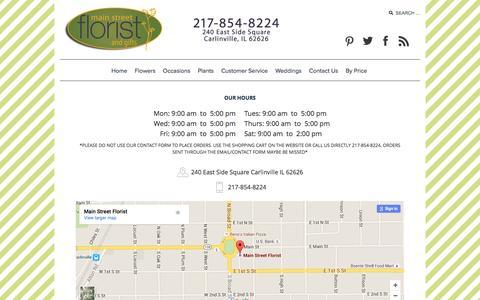 Screenshot of Contact Page main-street-florist.com - Main Street Florist - captured July 20, 2016