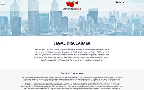 Screenshot of Privacy Page entrepreneursfund.com - Entrepreneurs Fund - Legal Disclaimer - captured Sept. 30, 2014