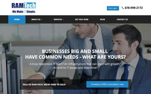 Screenshot of Home Page ramtechpcs.com - Computer IT Support, Cloud Computing Solutions, Managed IT Services - Atlanta, Stockbridge, McDonough | RAM-Tech PC Solutions, LLC - captured Sept. 1, 2015