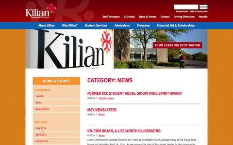 Screenshot of Press Page kilian.edu - News Archives | Kilian Community College - An affordable University in Sioux Falls, South DakotaKilian Community College – An affordable University in Sioux Falls, South Dakota - captured Oct. 6, 2014
