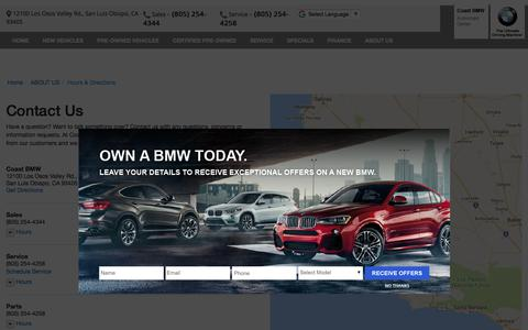 Screenshot of Contact Page Maps & Directions Page coastbmw.com - Contact Coast BMW in San Luis Obispo California - captured Feb. 18, 2018