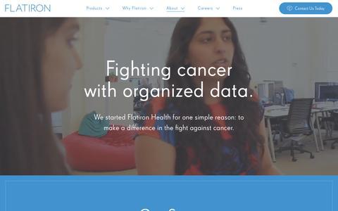 Screenshot of About Page flatiron.com - Flatiron Health: Fighting Cancer with Organized Data - captured Nov. 20, 2016