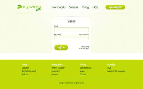 Screenshot of Login Page mysweep.com - Login form - captured Oct. 7, 2014