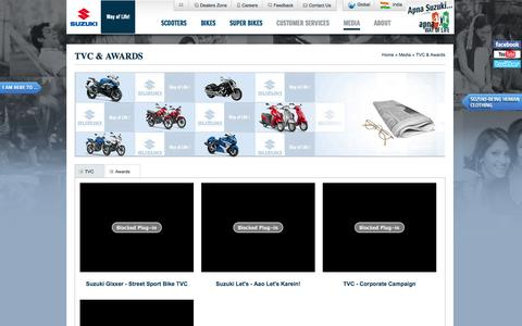 Screenshot of Press Page suzukimotorcycle.co.in - TVCS & Awards | Suzuki Motorcycle India Pvt.  Ltd. - captured Oct. 31, 2014