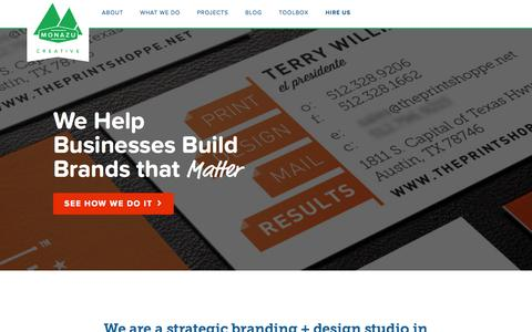 Screenshot of Home Page monazu.com - Strategic Branding + Design - Austin, Texas // Monazu Creative Group - captured Oct. 6, 2014