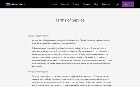 Screenshot of Terms Page codeanywhere.com - Terms of Service · Codeanywhere - captured Dec. 17, 2014