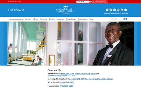 Screenshot of Contact Page grandhotel.com - Contact Us | Grand Hotel Mackinac Island, MI 1-800-33GRAND - captured July 22, 2018