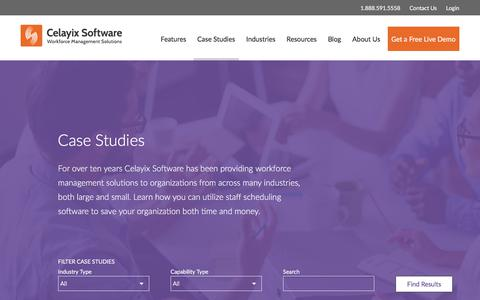 Screenshot of Case Studies Page celayix.com - Workforce Management Case Studies | Celayix Software - captured July 16, 2017