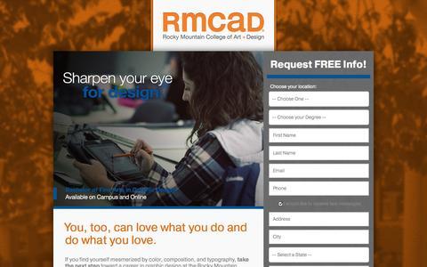 Screenshot of Landing Page rmcad.edu - RMCAD - Design your ideal career. - captured Oct. 27, 2014