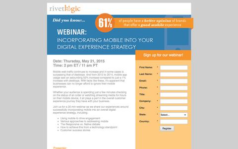Screenshot of Landing Page rivetlogic.com - Incorporating Mobile Into Your Digital Experience Strategy - captured Sept. 2, 2017