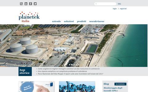 Screenshot of Home Page planetek.it - Planetek Italia | Telerilevamento, ambiente e territorio. - captured Sept. 28, 2018
