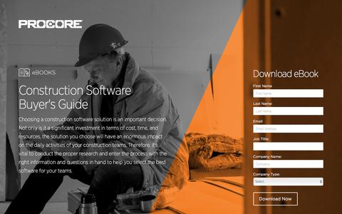 Screenshot of Landing Page procore.com - Construction Software Buyer's Guide - captured March 15, 2016