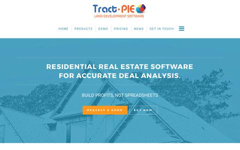 Screenshot of Products Page tract-pie.com - Financial Analysis Software - Residential Real Estate Software Program - captured Oct. 20, 2017