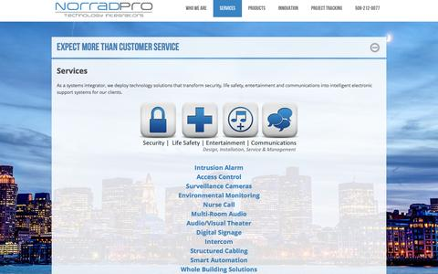 Screenshot of Services Page norradpro.com - Services - Business Security and Home Security - MA, RI, NH - captured Feb. 17, 2016