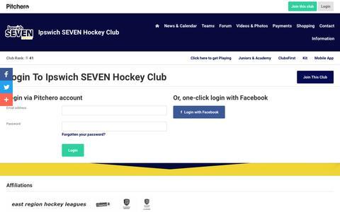Screenshot of Login Page pitchero.com - Ipswich SEVEN Hockey Club - captured Oct. 29, 2018