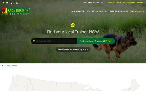 Screenshot of Contact Page barkbusters.com - Fetch A Trainer - Bark Busters Home Dog Training - captured Oct. 5, 2018