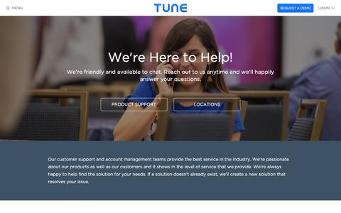Screenshot of Contact Page tune.com - TUNE | Contact Us - captured Jan. 13, 2016